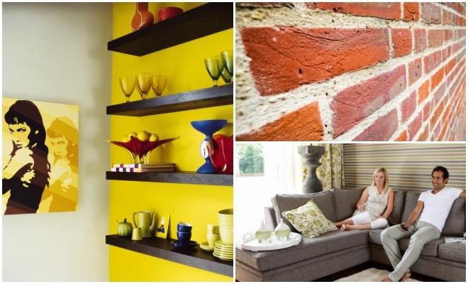 Tre eksempler på fargesetting av stue.