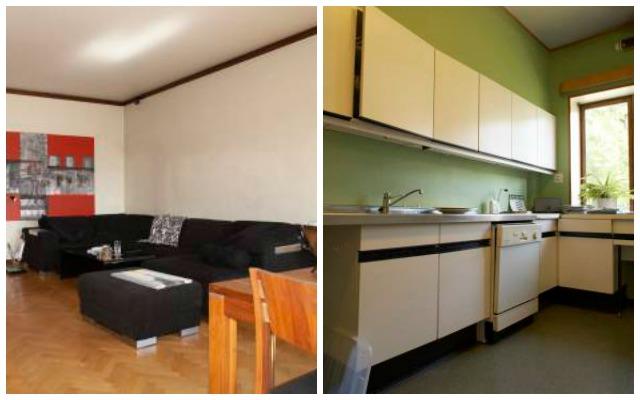 Slik så stuen og kjøkkenet ut før oppussingen.