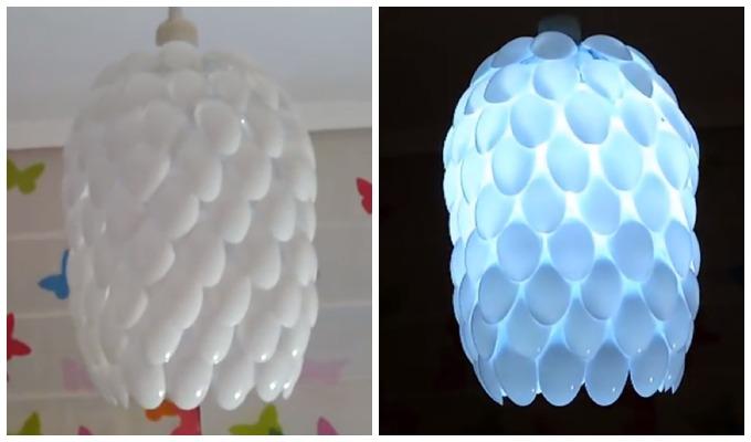 Slik lager du en kreativ lampe av plastskjeer på 1 2 3   kreative ...