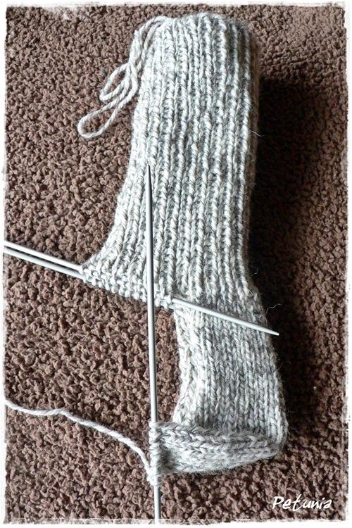 Strikking av sokkehælen.