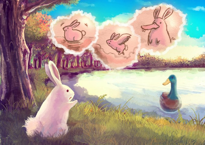 Cartoon illustration of a cute white rabbit talking to the duck in pond that she want to be able to fly and swim like her with imagination cloud bubble