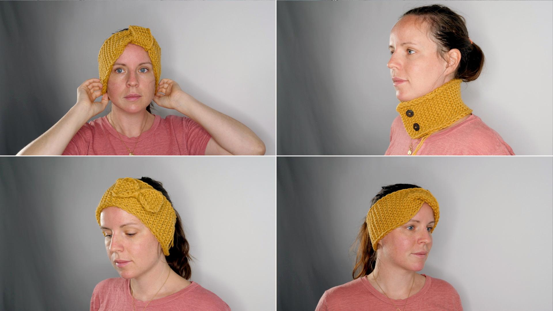 Strikkeprosjekter: Tre pannebånd og én hals