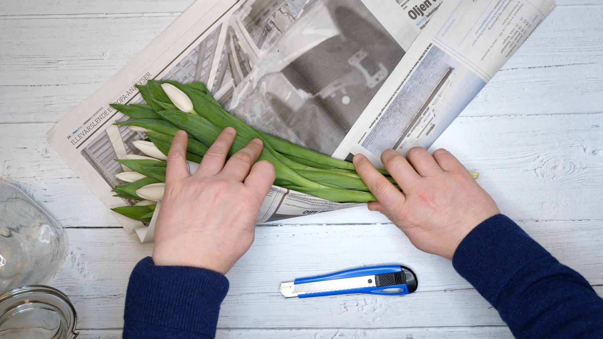 En bukett tulipaner blir pakket inn i avispapir.